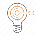 best, bulb, idea, target icon