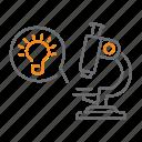find, idea, magnifier, microscope, seo, startup icon
