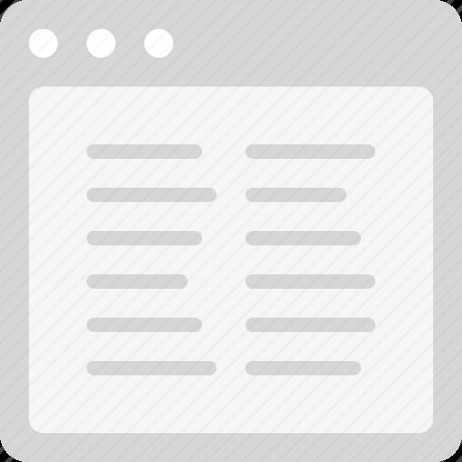 align left, content, plain text, two columns icon