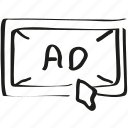 ad, ads, advertising, mouse icon icon