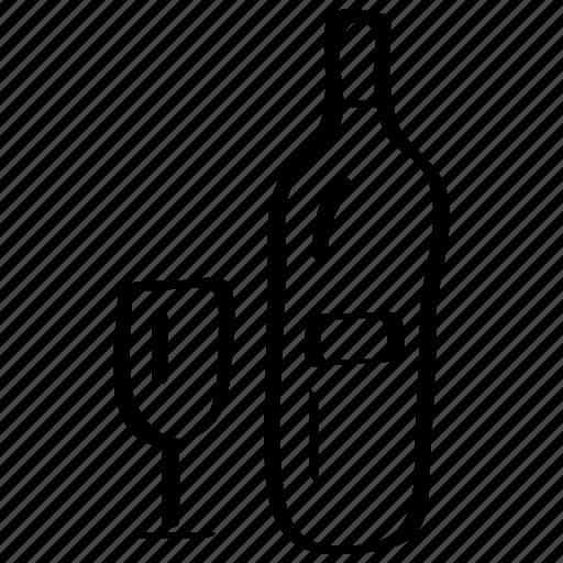 beverage, bottle, drink, glass, lvine, wine icon icon