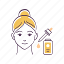 avatar, emoticon, face, serum, sketch, skin care, woman