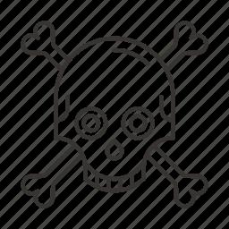 danger, death, halloween, skeleton, skull, smile icon