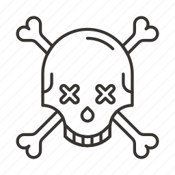 cross, eyes, halloween, skeleton, skull, smile icon