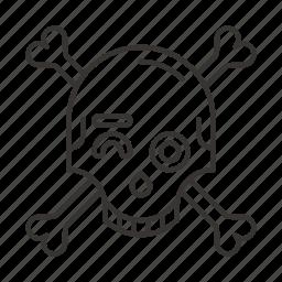 death, eyes, skeleton, skull, smile, wink, winks icon