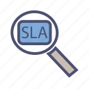 agreement, level, resolution, search, service, sla, time icon