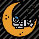 astronaut, cloud, midnight, moon, moonlight icon