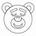 bear, line, outline, sleeping, teddy, thin, toy icon