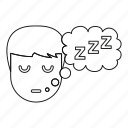 line, male, night, outline, sleep, thin, z icon
