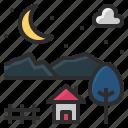 countryside, dark, moon, night, rural icon