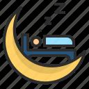 bedroom, moon, night, rest, sleep