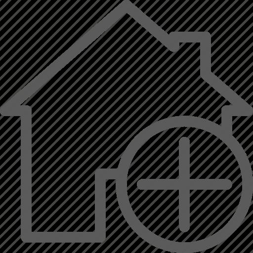 add, building, construction, estate, home, landmark, property icon