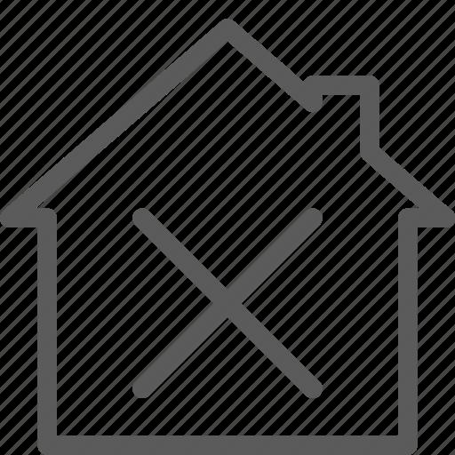 building, construction, delete, estate, home, landmark, property icon