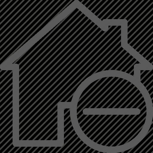 building, construction, estate, home, landmark, property, remove icon