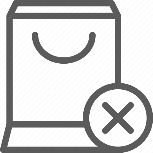bag, business, delete, ecommerce, retail, shopping, trade icon