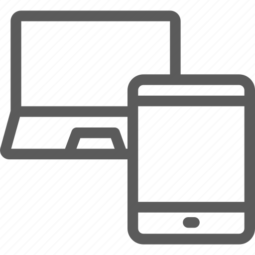 computers, connection, devices, hardware, laptop, tablet, technology icon