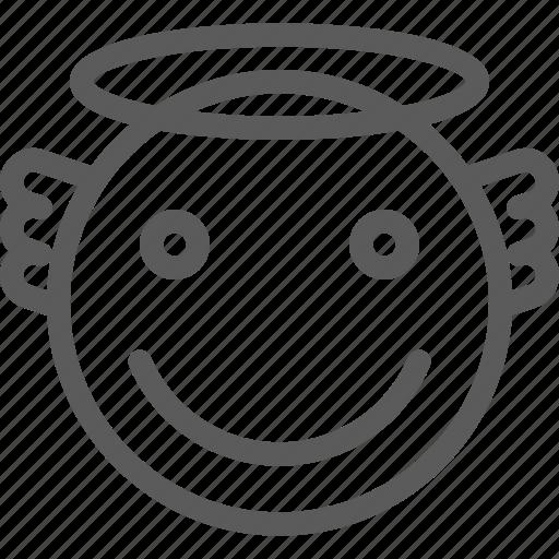 angel, chat, communication, emoji, emoticons, face icon