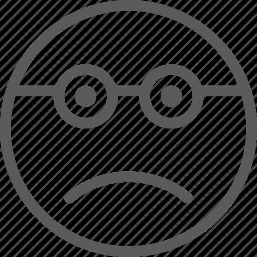 chat, emoji, emoticons, face, glasses, sad, wearing icon