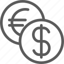 business, commerce, dollar, economics, euro, exchange, money icon