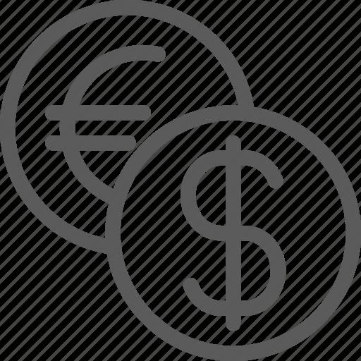 business, commerce, dollar, economics, euro, exchange, money icon