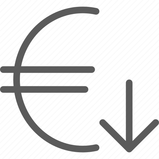 commerce, decrease, economics, euro, finance, money, value icon