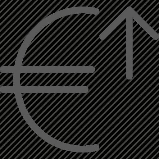 commerce, economics, euro, finance, increase, money, value icon