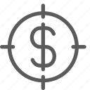 business, commerce, dollar, economics, finance, money, target icon