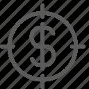 business, commerce, dollar, economics, finance, money, target icon