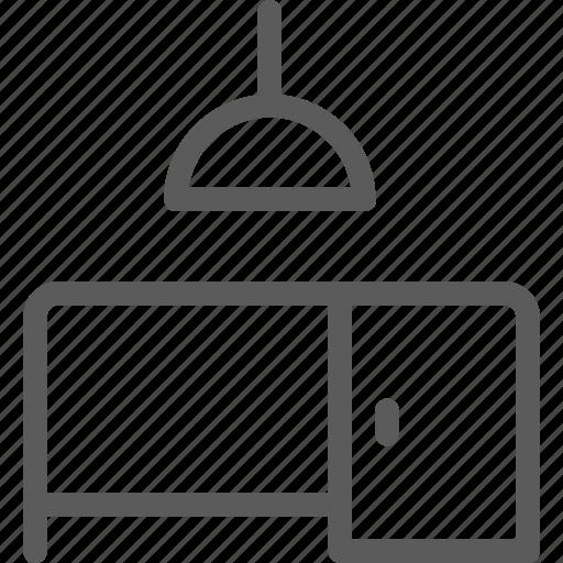 appliance, desk, furniture, goods, lamp, modern, stuff icon