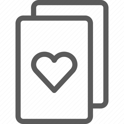 bet, cards, casino, gambling, gaming, heart, luck icon