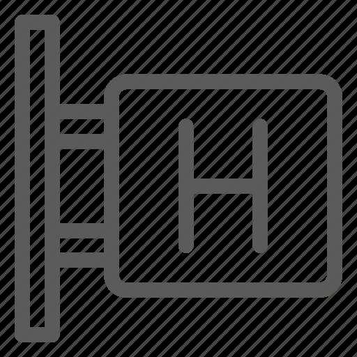 hostel, hotel, motel, resort, shelter, sign icon