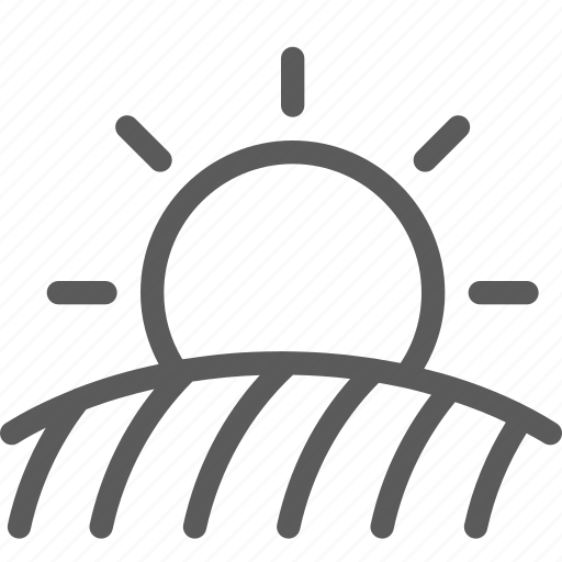 agriculture, corporation, cultivation, field, industry, production, sun icon
