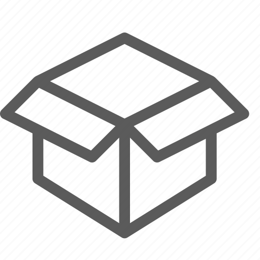 box, commercial, logistics, open, organizing, shipping, small icon
