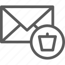 communication, internet, letter, mail, post, trash icon