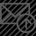 communication, internet, letter, mail, post, upload icon