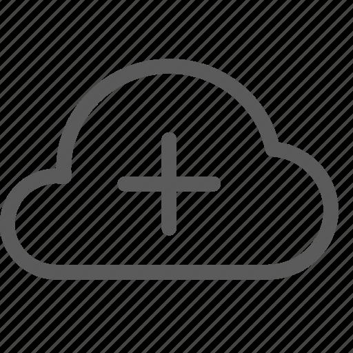 add, cloud, data, net, network, server, web icon