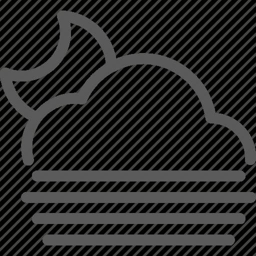 climate, fog, forecast, meteorology, nature, night, weather icon