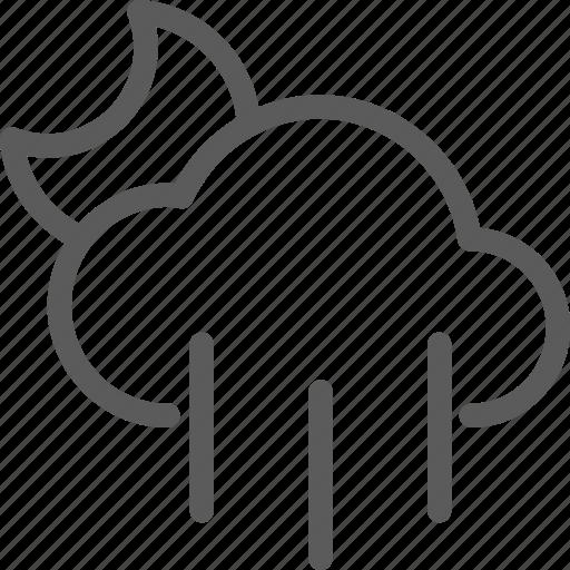 climate, forecast, meteorology, nature, night, rainy, weather icon
