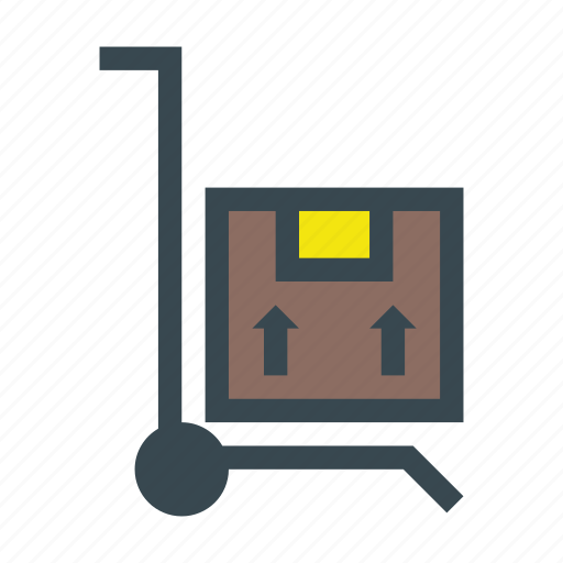 box, delivery, hand, package, stack, trolley, truck icon