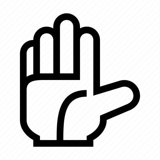 fingers, front, gesture, hand, open, touch icon