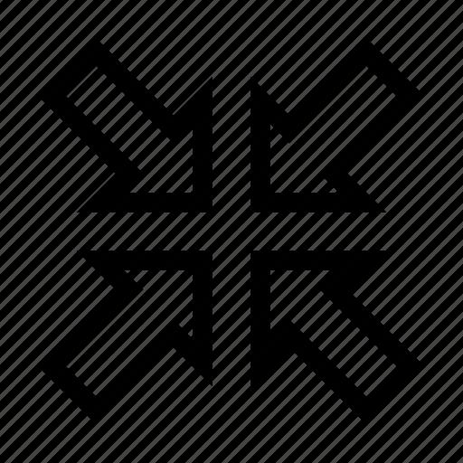 arrows, minify, minimize, resize, screen, small icon