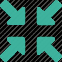 arrow, control, media, minimize, reduce, reduction icon