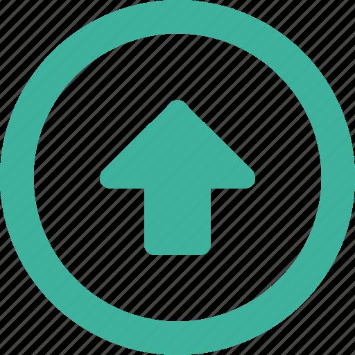 arrow, north, round, up, upload icon