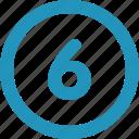 round, six icon