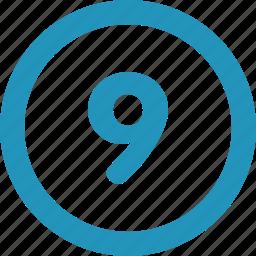 nine, round icon
