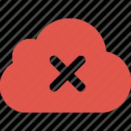 close, cloud, denied, error, sky, x icon