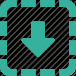 area, arrow, down, download icon