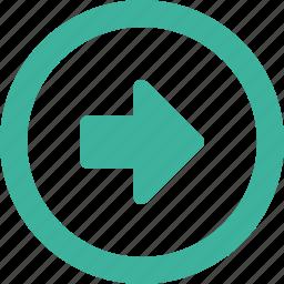 arrow, east, forward, right, round icon
