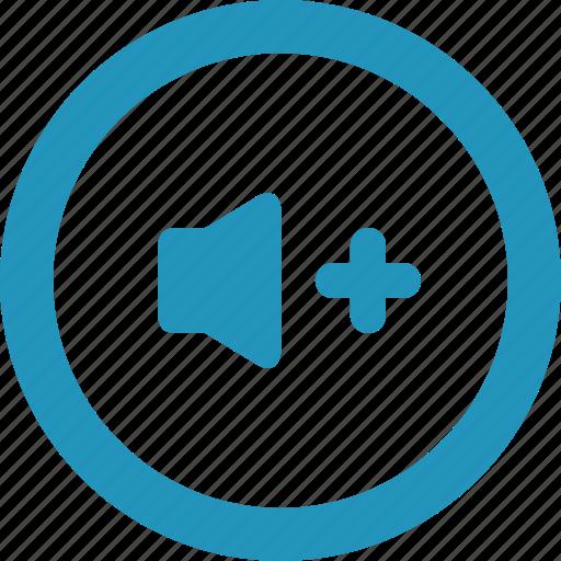 audio, music, plus, round, sound, speaker, volume icon