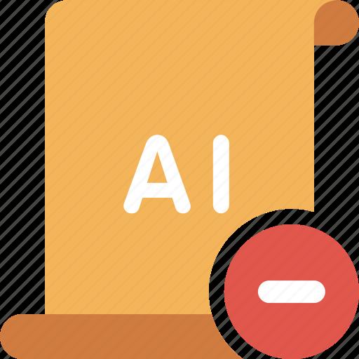 adobe, ai, delete, illustrator, minus, remove icon